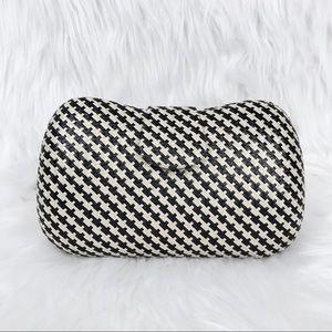 Banana Republic Straw Weave Clutch Checkered Black